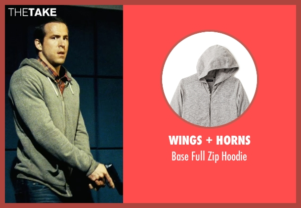 Wings + Horns gray hoodie from Safe House seen with Ryan Reynolds (Matt Weston)