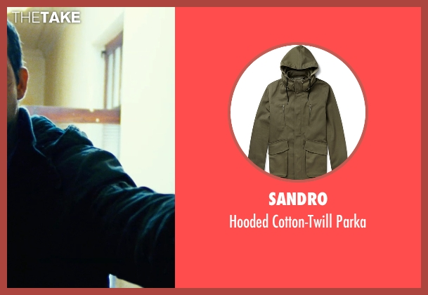 Sandro green parka from Safe House seen with Ryan Reynolds (Matt Weston)