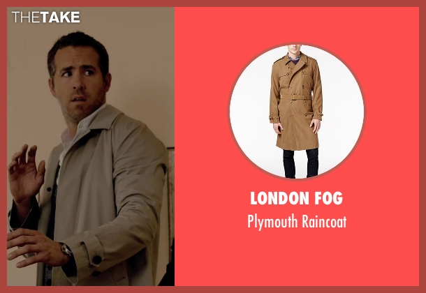 London Fog beige raincoat from Self/Less seen with Ryan Reynolds (Young Damian)