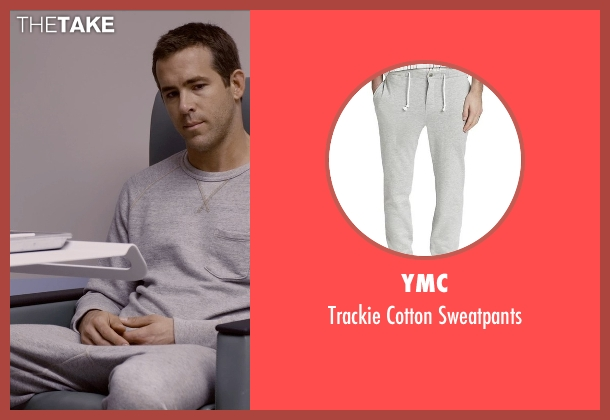 YMC gray sweatpants from Self/Less seen with Ryan Reynolds (Young Damian)