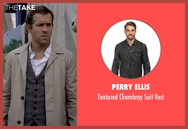 Perry Ellis gray vest from Self/Less seen with Ryan Reynolds (Young Damian)