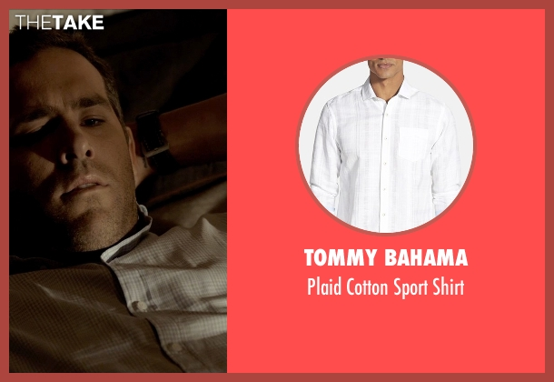 Tommy Bahama white shirt from Self/Less seen with Ryan Reynolds (Young Damian)