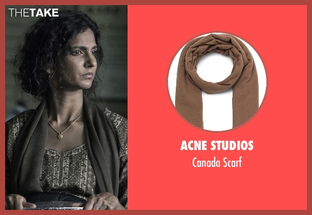 Acne Studios brown scarf from The Night Of seen with Safar Khan (Poorna Jagannathan)