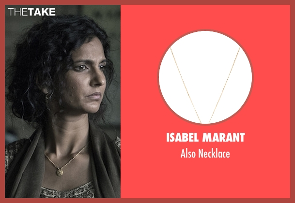Isabel Marant gold necklace from The Night Of seen with Safar Khan (Poorna Jagannathan)