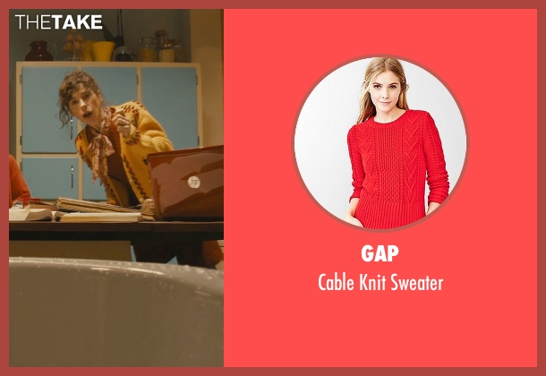 Gap red sweater from Paddington seen with Sally Hawkins (Mrs. Brown)