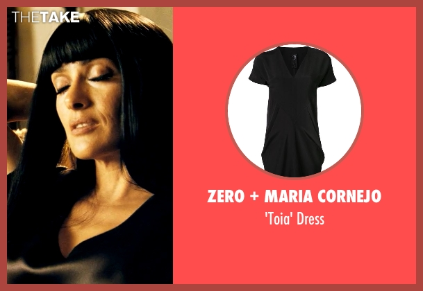Zero + Maria Cornejo black dress from Savages seen with Salma Hayek (Elena)