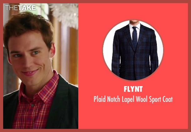 Flynt blue coat from Love, Rosie seen with Sam Claflin (Alex Stewart)