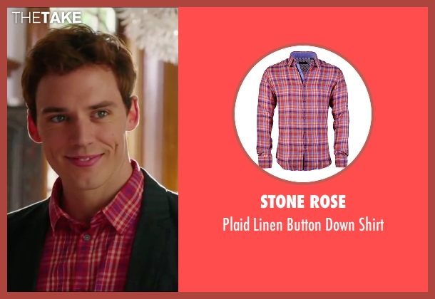 Stone Rose pink shirt from Love, Rosie seen with Sam Claflin (Alex Stewart)