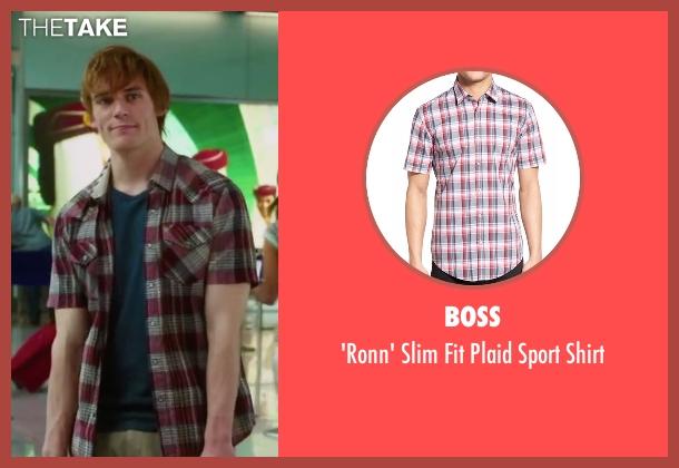 Boss red shirt from Love, Rosie seen with Sam Claflin (Alex Stewart)