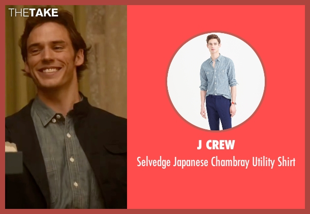 J Crew blue shirt from Me Before You seen with Sam Claflin (Will Traynor)