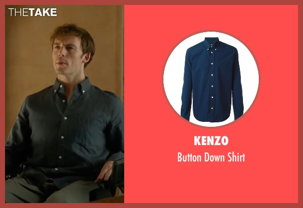 Kenzo blue shirt from Me Before You seen with Sam Claflin (Will Traynor)