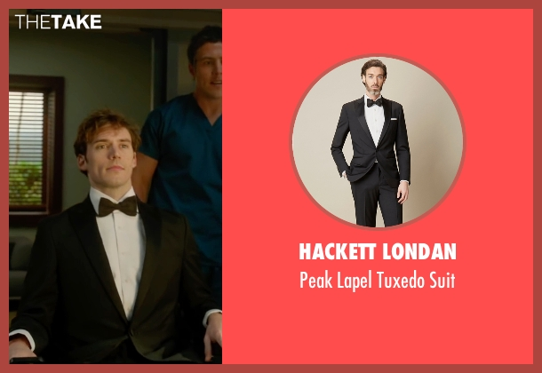 Hackett Londan black suit from Me Before You seen with Sam Claflin (Will Traynor)