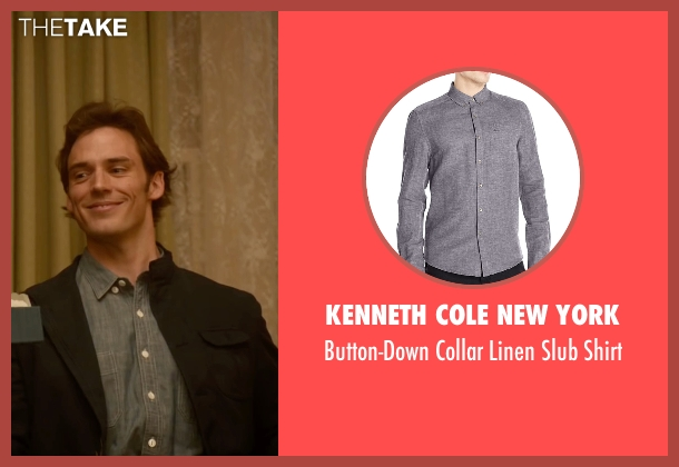 Kenneth Cole New York gray shirt from Me Before You seen with Sam Claflin (Will Traynor)
