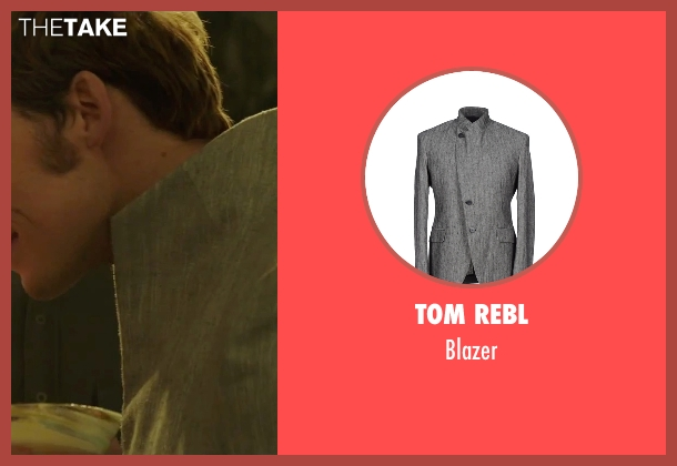 Tom Rebl gray blazer from The Hunger Games: Mockingjay - Part 2 seen with Sam Claflin (Finnick Odair)