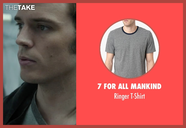 7 For All Mankind gray t-shirt from The Hunger Games: Mockingjay - Part 2 seen with Sam Claflin (Finnick Odair)