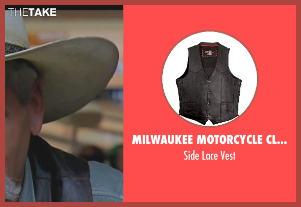 Milwaukee Motorcycle Clothing Company black vest from The Big Lebowski seen with Sam Elliott (The Stranger)