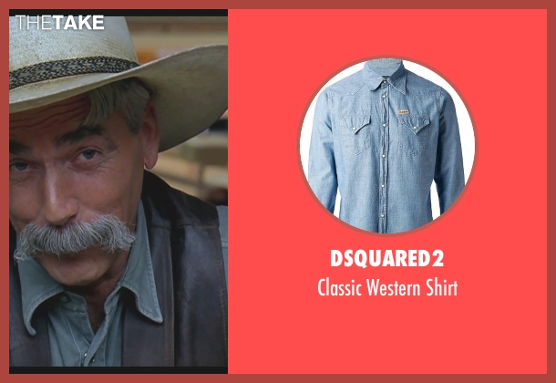 DSquared2 blue shirt from The Big Lebowski seen with Sam Elliott (The Stranger)