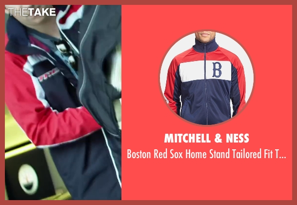 Mitchell & Ness blue jacket from Project Almanac seen with Sam Lerner (Quinn Goldberg)