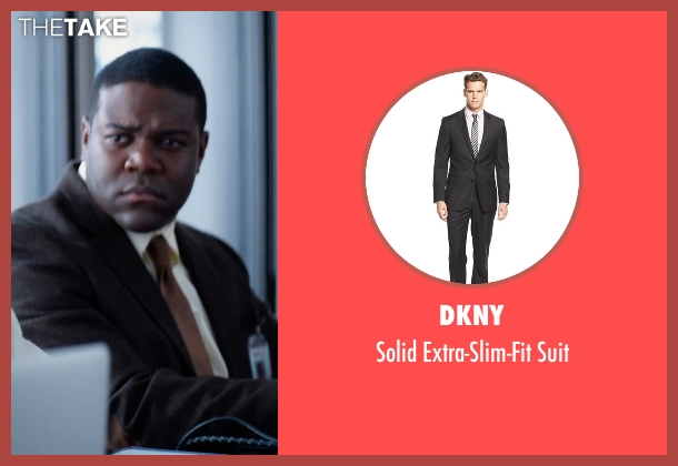 DKNY black suit from Office Christmas Party seen with Sam Richardson (Joel)
