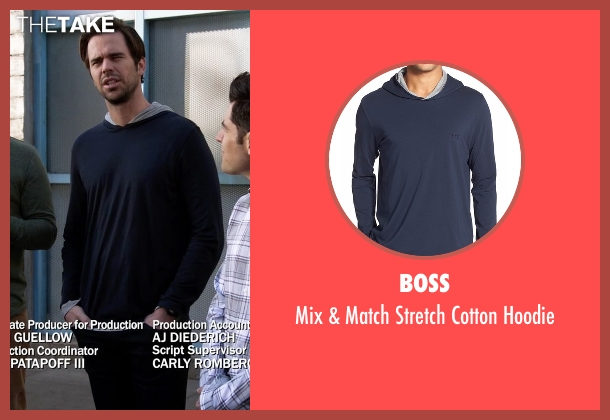 Boss blue hoodie from New Girl seen with Sam Sweeney (David Walton)