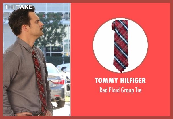 Tommy Hilfiger red tie from New Girl seen with Nick Miller (Jake Johnson)