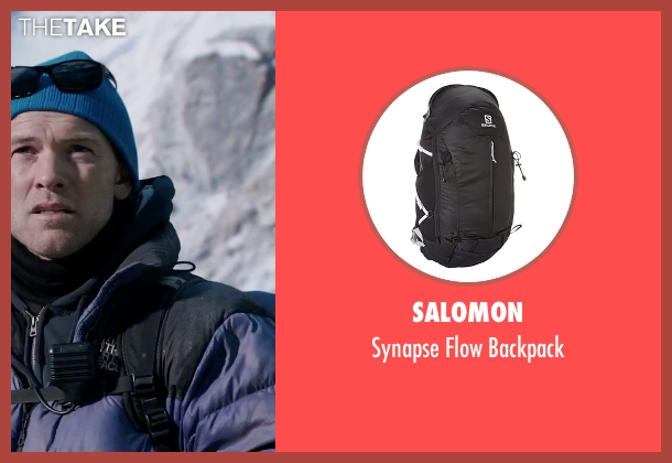 Salomon black backpack from Everest seen with Sam Worthington (Guy Cotter)