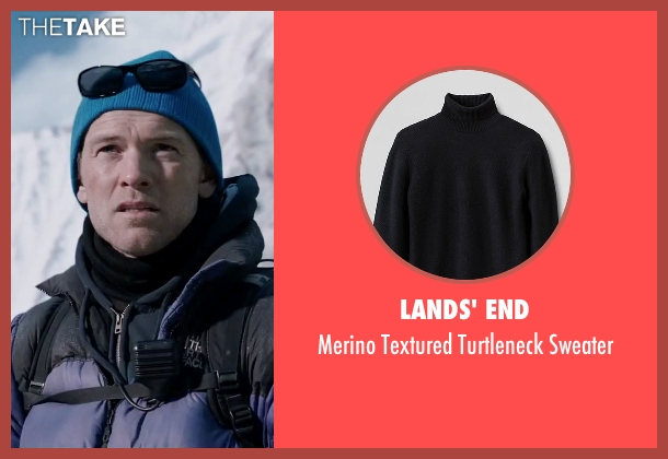 Lands' End black sweater from Everest seen with Sam Worthington (Guy Cotter)