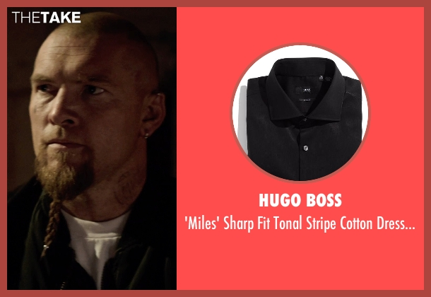 HUGO BOSS black shirt from Sabotage seen with Sam Worthington (James 'Monster' Murray)
