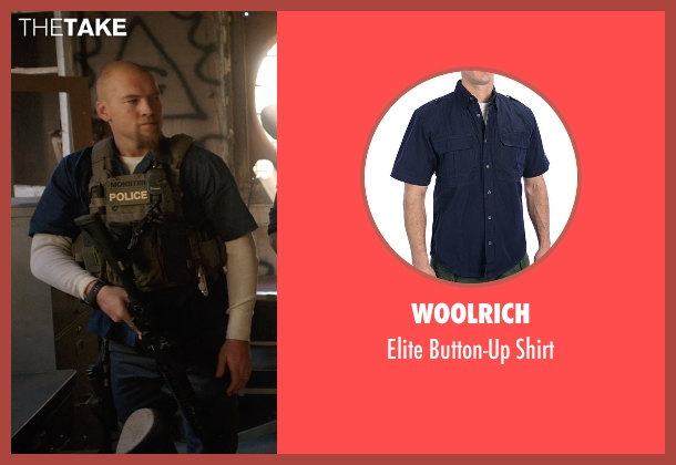 Woolrich blue shirt from Sabotage seen with Sam Worthington (James 'Monster' Murray)