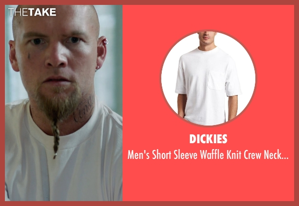Dickies white shirt from Sabotage seen with Sam Worthington (James 'Monster' Murray)