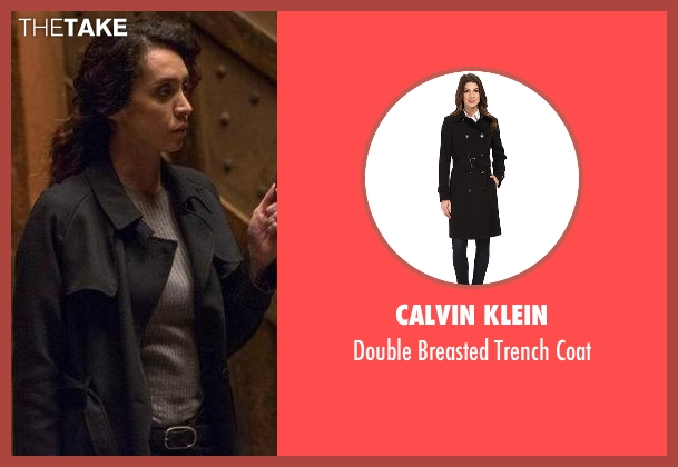 Calvin Klein black coat from The Blacklist seen with Samar Navabi (Mozhan Marnò)