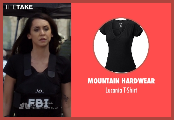 Mountain Hardwear black t-shirt from The Blacklist seen with Samar Navabi (Mozhan Marnò)