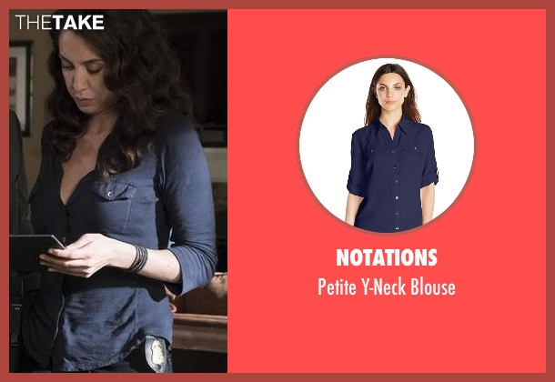 Notations blue blouse from The Blacklist seen with Samar Navabi (Mozhan Marnò)