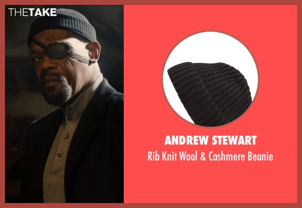 Andrew Stewart black beanie from Avengers: Age of Ultron seen with Samuel L. Jackson (Nick Fury)