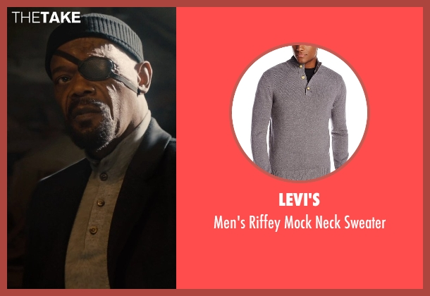 Levi's gray sweater from Avengers: Age of Ultron seen with Samuel L. Jackson (Nick Fury)