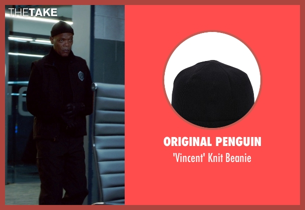 Original Penguin black beanie from Barely Lethal seen with Samuel L. Jackson (Hardman)