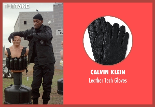 Calvin Klein black gloves from Barely Lethal seen with Samuel L. Jackson (Hardman)