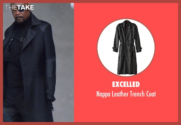 Excelled black coat from Captain America: The Winter Soldier seen with Samuel L. Jackson (Nick Fury)