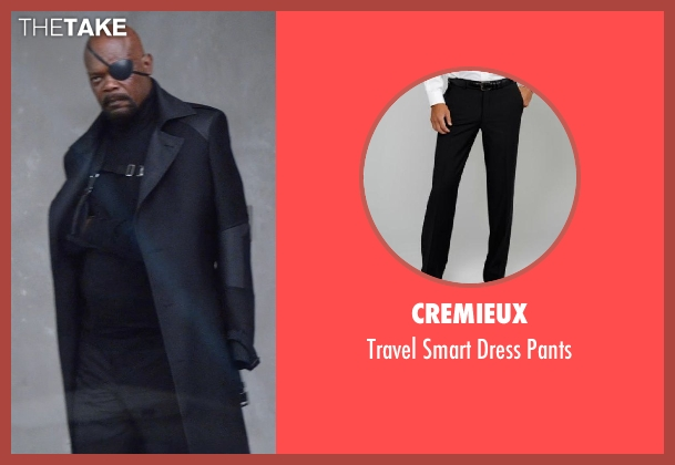 Cremieux black pants from Captain America: The Winter Soldier seen with Samuel L. Jackson (Nick Fury)