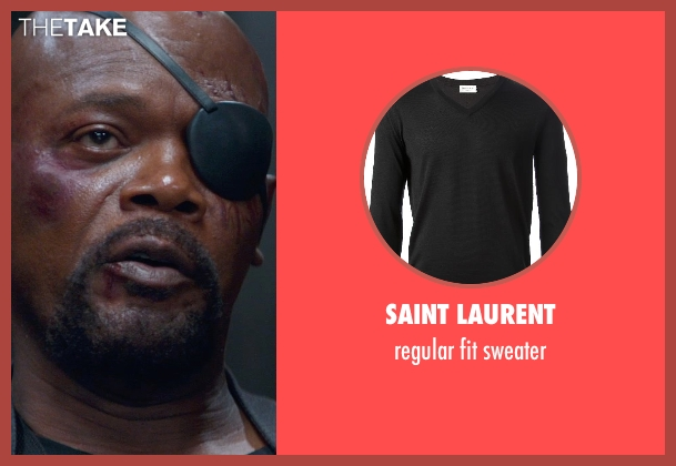 SAINT LAURENT black sweater from Captain America: The Winter Soldier seen with Samuel L. Jackson (Nick Fury)