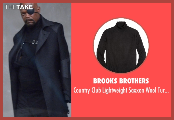 Brooks Brothers black sweater from Captain America: The Winter Soldier seen with Samuel L. Jackson (Nick Fury)