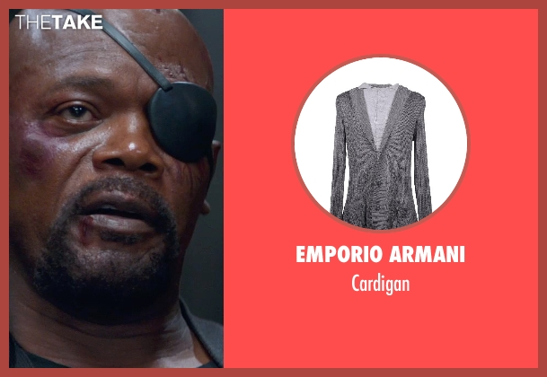 EMPORIO ARMANI gray cardigan from Captain America: The Winter Soldier seen with Samuel L. Jackson (Nick Fury)