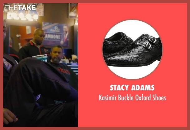 Stacy Adams black shoes from Chi-Raq seen with Samuel L. Jackson (Dolmedes)