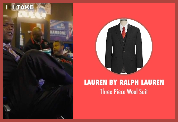 Lauren by Ralph Lauren black suit from Chi-Raq seen with Samuel L. Jackson (Dolmedes)