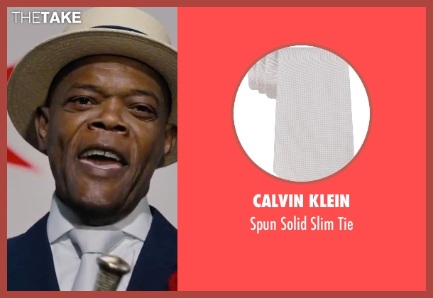 Calvin Klein white tie from Chi-Raq seen with Samuel L. Jackson (Dolmedes)