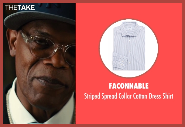 Brioni	 blue shirt from Kingsman: The Secret Service seen with Samuel L. Jackson (Valentine)
