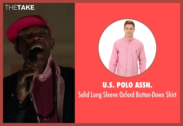 U.S. POLO ASSN. pink shirt from Kingsman: The Secret Service seen with Samuel L. Jackson (Valentine)