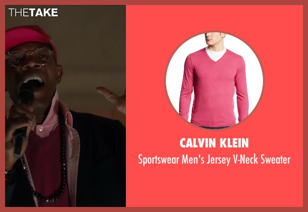 Calvin Klein pink sweater from Kingsman: The Secret Service seen with Samuel L. Jackson (Valentine)