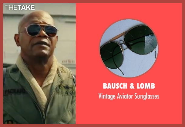 Bausch & Lomb black sunglasses from Kong: Skull Island seen with Samuel L. Jackson (Lieutenant Colonel Packard)