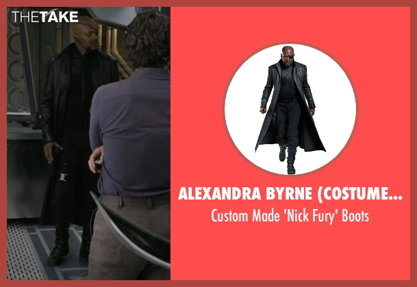 Alexandra Byrne (Costume Designer) black boots from Marvel's The Avengers seen with Samuel L. Jackson (Nick Fury)